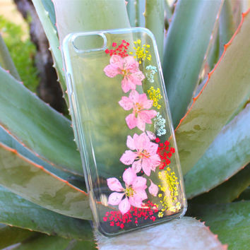 Dried Flower iPhone 5 5s Case - Pink Flower iPhone 4 4s - Pressed Flower iPhone 6 Plus Case - Floral iPhone 5c - Clear iPhone 6 Case