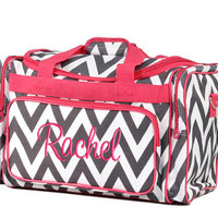 Personalized Duffle Bag Chevron Gray Hot Pink Ballet Dance Travel