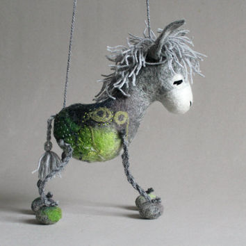 Grey Birger - Felt Donkey. Art Toy. Felted Stuffed Marionette Puppet Handmade Animals Toys, love grey green gray. MADE TO ORDER.