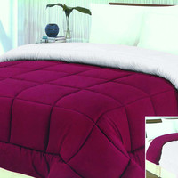 "LuxuryBedding 1-Piece Microfiber Reversible Solid Comforter - Twin - 66"" x 86"" - (Burgundy/White)"