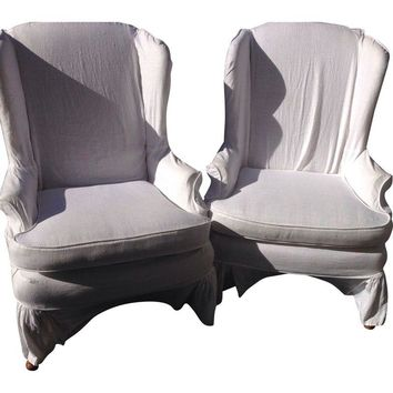 Pre-owned Slipcovered Wing back Chairs - A Pair
