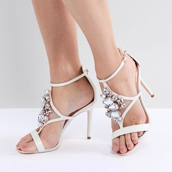 Ted Baker Liosa Embellished T-Bar Heeled Sandals at asos.com