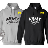 Custom Army Sweatshirt, Military Shirt for Wife, Fiance, Girlfriend, Mom, Sister, Air force, Navy, Marine