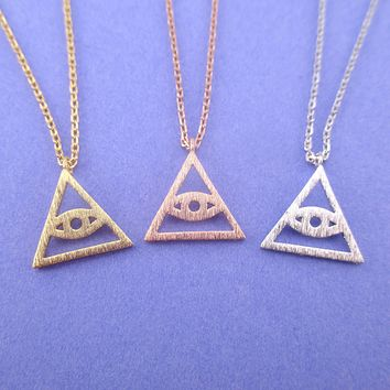 Eye of Providence All Seeing Eye Pyramid Triangle Shaped Pendant Necklace