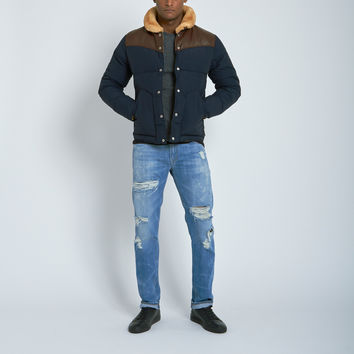 Penfield Rockwool Leather Yoke Down Jacket in Navy