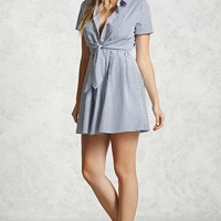 Pinstripe Wrap-Tie Shirt Dress