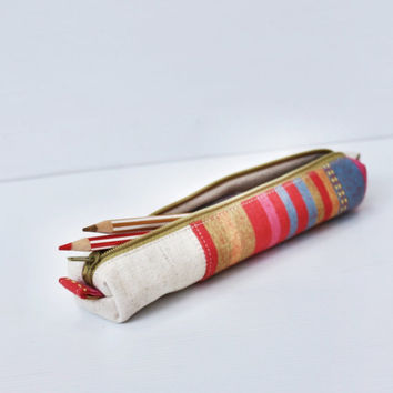Colorful Retro Pencil Case, Cotton Canvas Small Zipper Pouch, Red Orange Pink Yellow, Small Cosmetic Pouch