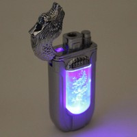 L1 Dragon Silver Color - Multi Flames Mode (Regular & Torch) - Flashing LED Lights Refillable Butane Torch Lighter - 3 1/4 Inch