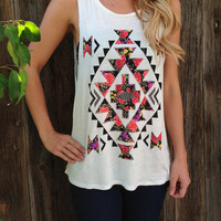 Rose Aztec Muscle Tee