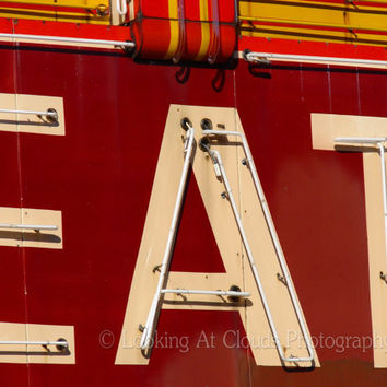 EAT- red neon sign - fine art photo - retro diner - foodie gift kitchen - large 8 1/2 x 11 photograph