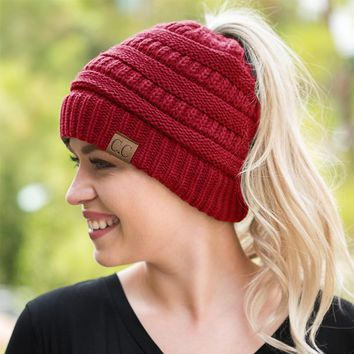 CC Womens Ponytail Cable Knit Beanie