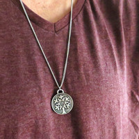 Men's Necklace - Blackend Silver Plated Tree Of Life Pendant - Mens Jewelry - Mens Cool Jewelry - Gift For Him