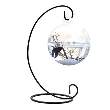 Clear Round Shape Hanging Glass Aquarium Fish Bowl Fish Tank Flower Plant Vase Home Decoration with 28cm Height Rack Holder