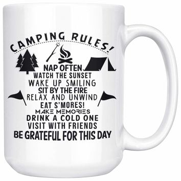 Campers Mug Camping Rules 15oz White Coffee Mugs
