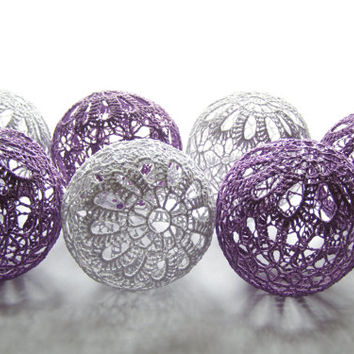 Party Lighting, Holiday Lights, Bedroom Decor lamps, Fairy Lights, String Lights, 20 Crocheted Lilac Gray balls , garland light