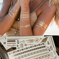 1pcs Metallic Gold Silver Body Art Temporary Tattoo Sexy Non-Toxic Flash Tattoos Sticker for Women = 5660928577