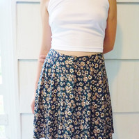 90s Vintage Button Up Daisy Circle Skirt