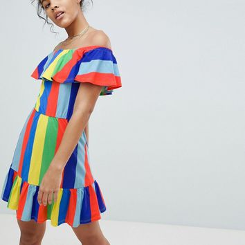 ASOS DESIGN Tall off shoulder sundress with tiered skirt in rainbow stripe at asos.com