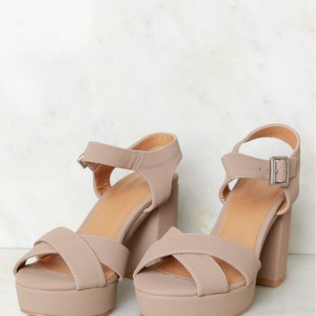 Smooth Suede Strappy Heel Taupe