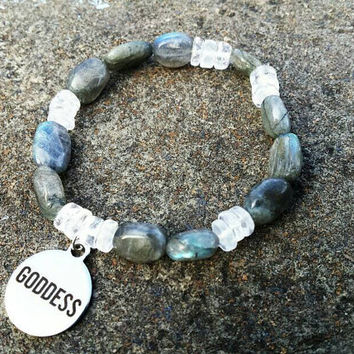 Labradorite & Rock Quartz Goddess quote Charm Bracelet Goddess Bracelet of Light and Dark