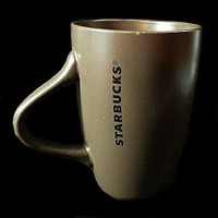 Starbucks Coffee Mug Cup 2011 Brown 10.5oz Black Lettering Ceramic k106