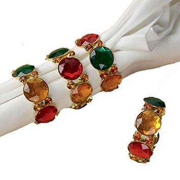 Red Green Gold Jewel Napkin Rings - Set of 4