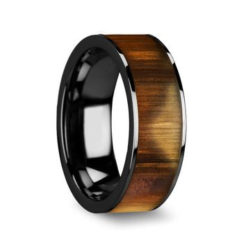 Men's Flat Black Ceramic Wedding Band With Real Olive Wood Inlay 8mm