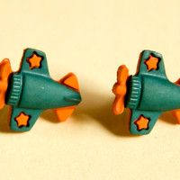 Airplane Earrings Green and Orange