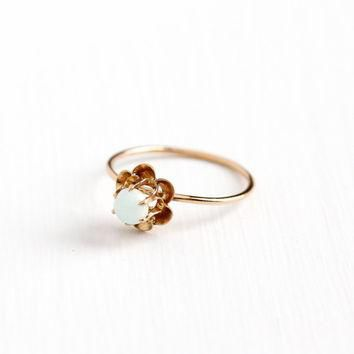 Antique 10k Rosy Yellow Gold Opal Solitaire Ring - Edwardian Round Gem Size 8 1/2 Sti