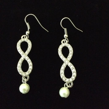 Dale Earnhardt earrings,/Infinity earrings crystal with pearl with nickel free wires
