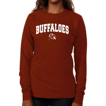 West Texas A&M Buffaloes Ladies Logo Arch Long Sleeve Slim Fit T-Shirt - Cardinal
