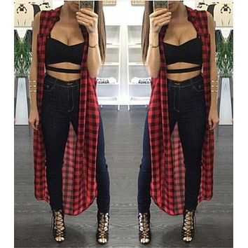 Casual Plaid cardigan