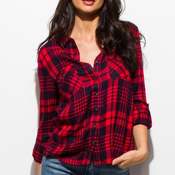 Red and Navy Blue Plaid Top
