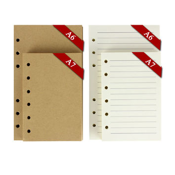 vintage notebook paper 6 ring binder 80 sheets blank kraft paper white paper with lines A7 A6 notebook inner paper