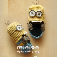 Minion Despicable Me Baby Booties Crochet PATTERN, PDF - Chart & Written Pattern