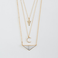 Marble Triangle & Crescent Tiered Long-Strand Necklace