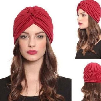 ESBONJ Plain solid Turban Head Wrap Band Hat  Chemo Bandana hair cap Many Colour