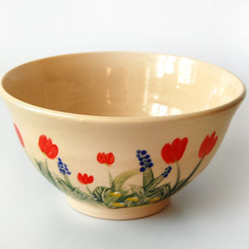 Decorative Bowl / Medium Handmade Pottery Serving Bowl Painted by Hand
