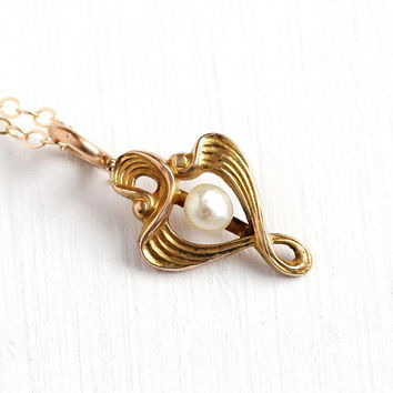 Antique Pearl Necklace - 14k Rosy Yellow Gold White Gemstone Charm Pendant - 1900s Edwardian Art Nouveau Pin Conversion Dainty Jewelry