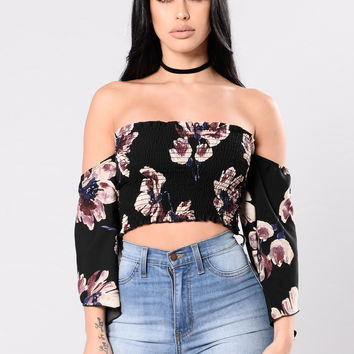 Dames Top - Black Floral