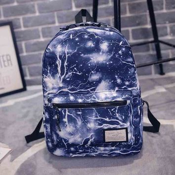 Blue Flash Printed Canvas Backpack