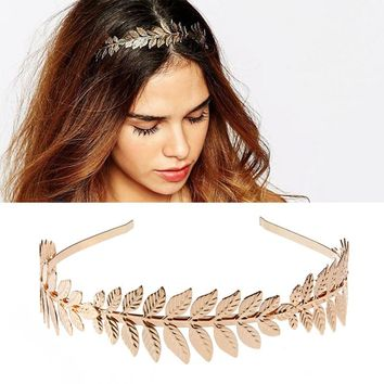 Women Vintage Goddess Olive Leaf Headband Headdress Hair Band Crown Wedding Chic