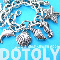 Sea Creatures Themed Charm Bracelet: Starfish Seahorse Seashell Dolphins