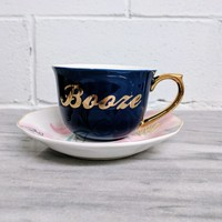 Booze Tea Cup and Saucer Set in Purple, Floral and Gold