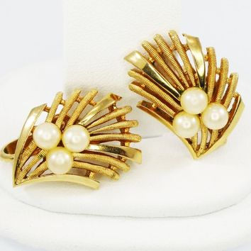 Signed Trifari Bamboo Earrings, Fan Shaped Gold Tone Clipons, Cuff Style w/ Faux Pearl Beads, Modernist Design, Vintage 1950s 1960s Jewelry
