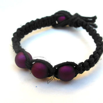 Hemp Bracelet Square Knot Purple Beads For Women