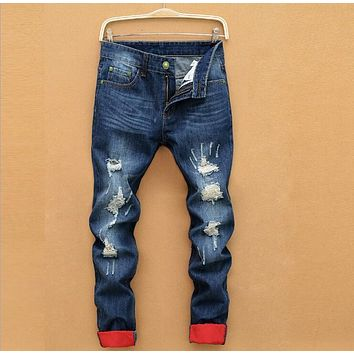 New ripped fashion brand for men Hole jeans homme hip hop Frayed Blue wash denim destroyed overalls biker slim Casual pants
