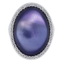 Roberto Coin Mother-of-Pearl Amethyst Diamond Gold Ring