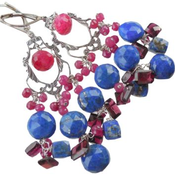 Ruby, Lapis Lazuli, Garnet Gemstone Drop Chandelier Earrings
