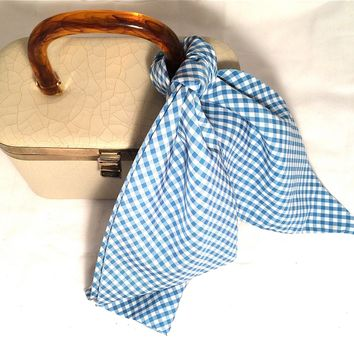 Gingham Long Scarf Blue White Checkers Vintage Accessories